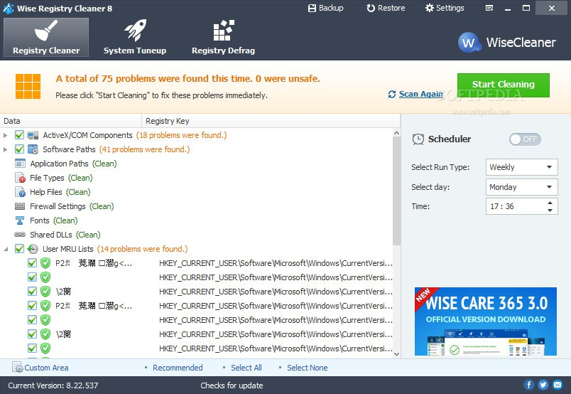 wise registry cleaner system tuneup review